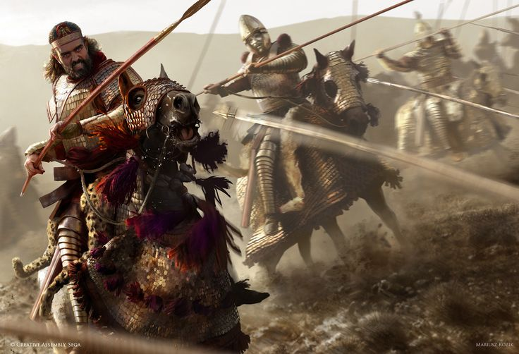 """Persian Cataphracts""- Promotional key artwork& loading screen prepared for ""Total War: Attila"""