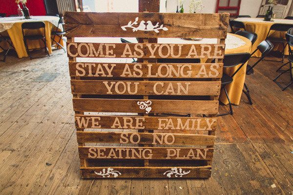 making large signs on pallets - what a cheap and wonderful idea - rustic country wedding