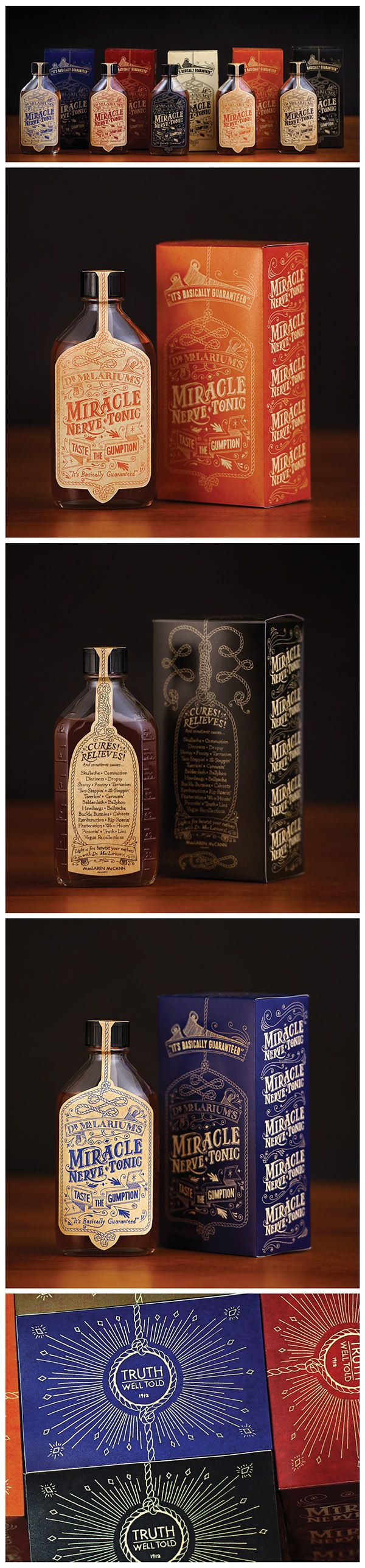 Dr. MacLarium's Nerve Tonic on Behance. Great typography on this packaging PD
