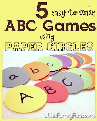 Cut out circles, write the ABC's on them, and play 5 different alphabet games for preschoolers.