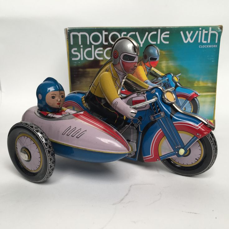 Wind Up Tin Chinese Motorcycle With Sidecar