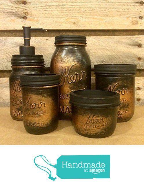 5 Piece Vintage Kerr Mason Jar Desk Organizer or Bathroom Set, Black Copper Bathroom Set, Rustic Copper Mason Jar Desk Set, Mens Rustic Copper Bathroom Accessories from AmericanaGloriana https://www.amazon.com/dp/B01G2WI0LU/ref=hnd_sw_r_pi_dp_tS7DxbEN443XC #handmadeatamazon