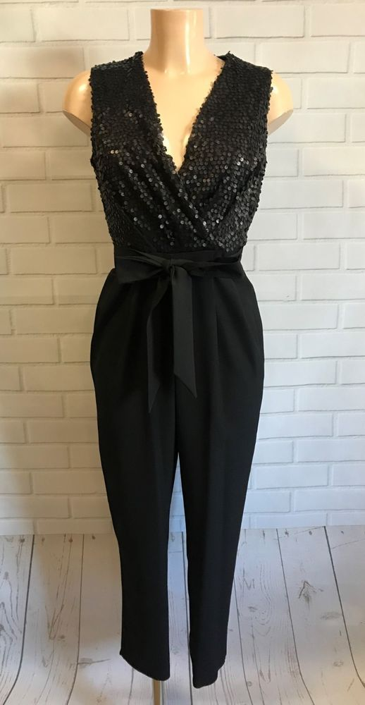 0155fa4805fd Stunning Black Sequin Plunge Neck Tapered Leg Jumpsuit Size 10  fashion   clothing  shoes  accessories  womensclothing  jumpsuitsrompers (ebay link)