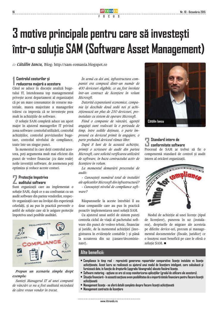 3 motive principale pentru care sa investesti intr-o solutie SAM (Software Asset Management)  http://sam-romania.blogspot.ro/2015/08/de-se-sa-investesti-intr-o-solutie-sam_4.html
