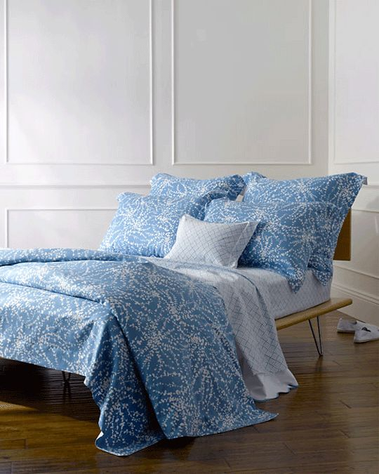 Lyford floral blue comforter cover from Elegant Linens is a 100% cotton percale from LULU DK.