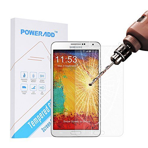 Samsung Note 3 Screen Protector Poweradd Samsung Galaxy Note 3 Tempered Glass Screen Protector with Bubble Free 9H Hardness Touchscreen Accuracy  Retail Packaging >>> Read more at the image link.