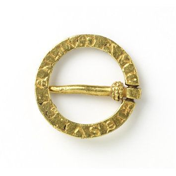 Ring brooch, 1200 - 1300, France or England, Inscription reads: I am here in place of a friend.