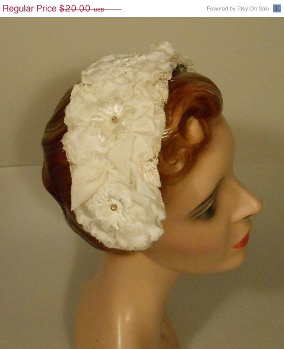 50% OFF A Summer Time of Memories - 1950s White Floral Half Band Half Hat Bandeau