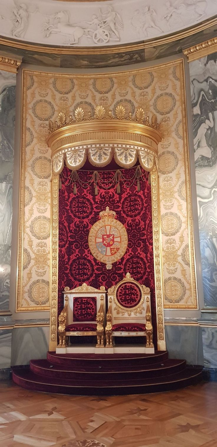 Thrones in the The Reception Rooms of Christiansborg Palace Copenhagen Denmark