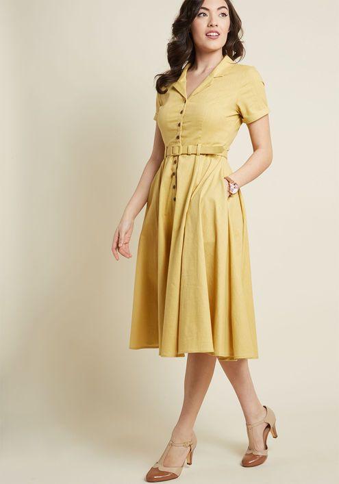 7320a90bde Collectif x MC Cherished Era Shirt Dress in Yellow - Ahh