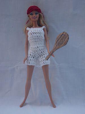 Vestito per la barbie all'uncinetto: completo da tennis stile anni '60!