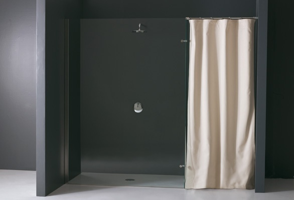 walk in shower with waterproof curtain #shower #curtain