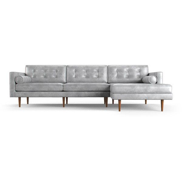 Joybird Braxton Mid Century Modern Purple Leather Sectional (2,115 KWD) ❤ liked on Polyvore featuring home, furniture, sofas, purple, sectional sofas, leather couch, purple leather sofa, leather sofas, mid-century sofa and purple leather couch