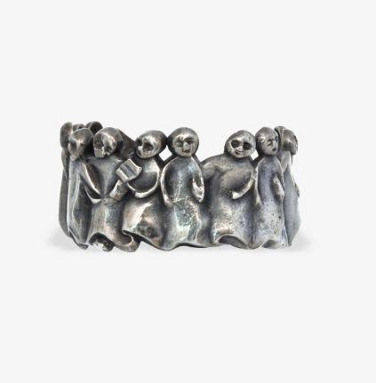 """Line Vautrin, bracelet 'La manifestation"""", c.1945 Important jonc ouvert en bronze argente, email"""