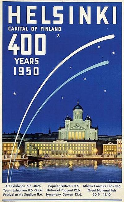 Vintage Helsinki travel poster, 1950.