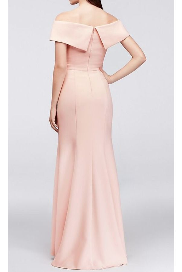 b73f353f Xscape Off Shoulder Crepe Sheath Gown Blush Dress | floral dress in ...