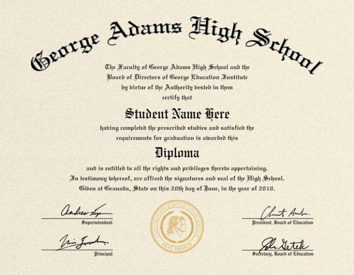 50 Free High School Diploma Certificates High School Diploma