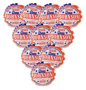 "Amazon.com: Pack-10 Gary Johnson Libertarian Party Pin-Back Buttons Valxart 2.25"", 2016: Clothing"