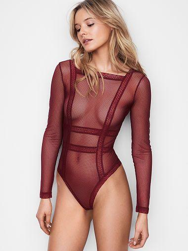 e8dae39be02 Page Not Available - Victoria s Secret. Fishnet Lace Long Sleeve Bodysuit l   VS2018