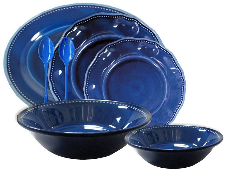 Blue Provence 16PC Melamine Dinnerware and Hostess Set