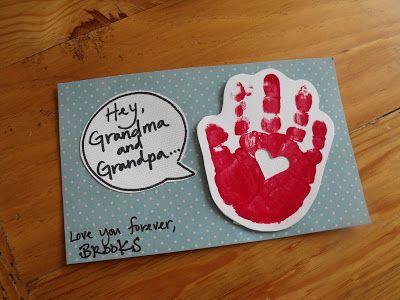 handprint valentine card for preschoolers | Grandparent's Day Handprint Round Up
