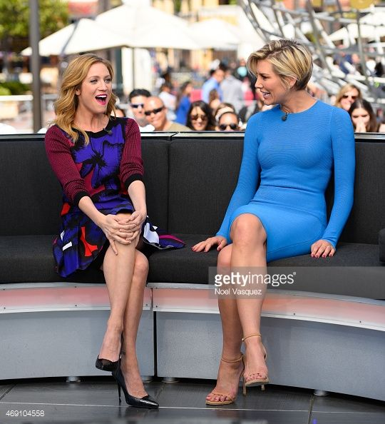 Brittany Snow (L) and Charissa Thompson visit 'Extra' at Universal Studios Hollywood on April 9, 2015 in Universal City, California.