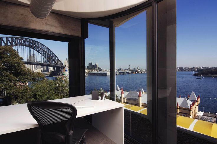 The Director's office with views to the harbour. Brooke Aitken Design.