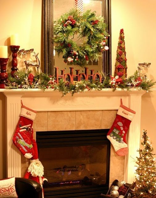 Modern Mantel Christmas Fireplaces Decoration Ideas 23 Mantel Christmas  Fireplaces Decoration Ideas