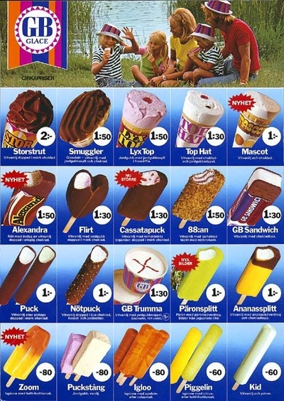 Memories from the 70 and 80s. My childhood ice creams! The prices are witness to that...