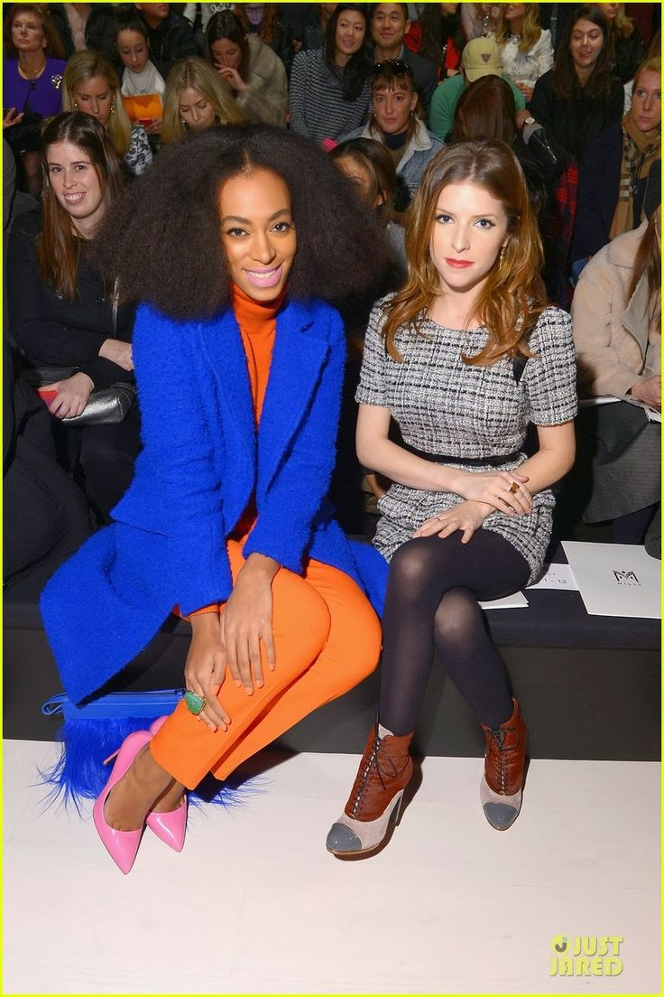 Anna Kendrick & Solange Knowles at Milly By Michelle Smith Fashion Show during Mercedes-Benz Fashion Week Fall 2014