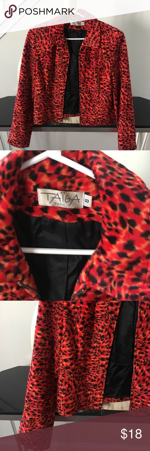 Red animal print zip up jacket In very good used condition with no rips or stains. Adorable leopard print zip up jacket with black lining. Thanks for looking and make an offer.💕 Taiga Jackets & Coats Utility Jackets
