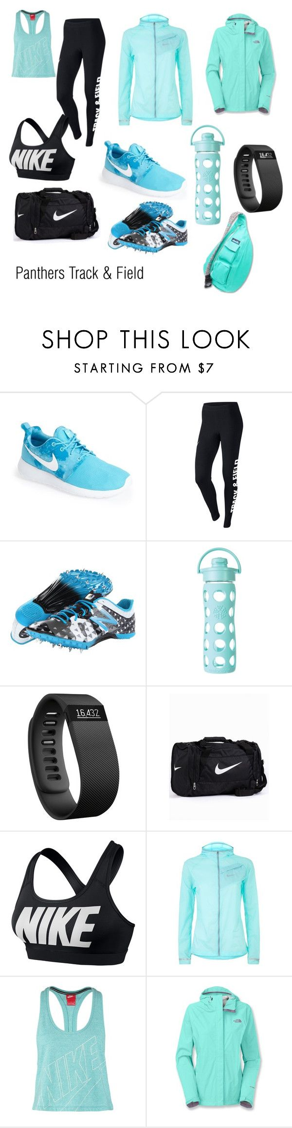 """Winter Track and Field"" by berkeleys12 ❤ liked on Polyvore featuring NIKE, New Balance, Lifefactory, Fitbit, The North Face, Kavu, run, practice, daily and 2015"