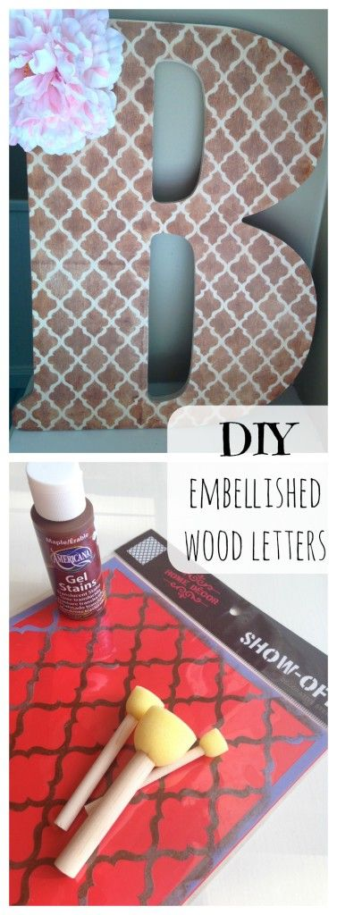 DIY embellished wooden wall letters. So inexpensive and easy to make! #letters #kidsroom #decor