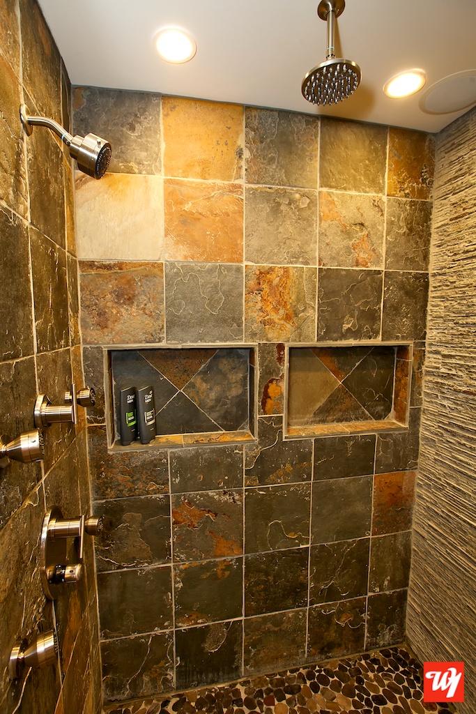 Ward 1 Bathroom Remodel #bathroom #remodel #bathroomremodel #granite #faucet #contemporary #custom #stone #tile #showerhead #rainfall #stonewall #airplay #audio #speakers #itunes #ipod #apple