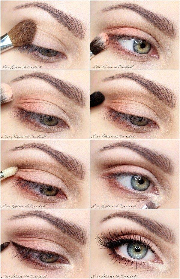 Maquillage de jour simple et rapide. Dans les teintes rosées et marrons pour un…
