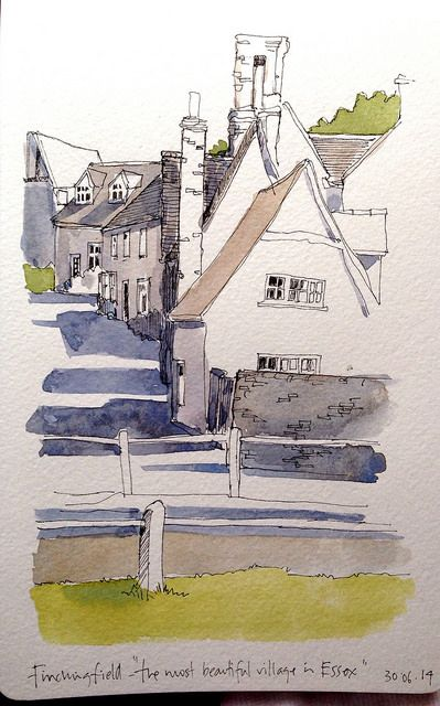 My line sketch from yesterday, with watercolour washes by John Harrison, artist, via Flickr
