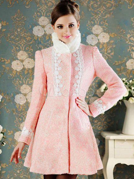 Rosa pizzo maniche lunghe tinta unita moderno cappotto in lana per donna - Milanoo.com
