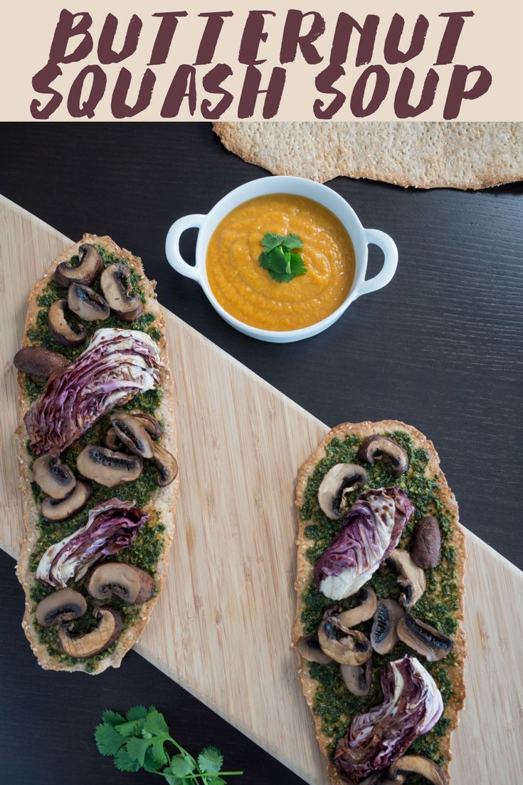 Butternut Squash Soup with Winter Pesto Flatbreads morselsofparadise.com