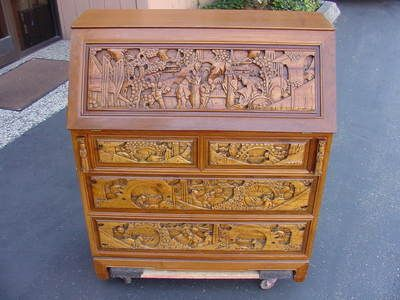 Antique Intricately Hand Carved Chinese Secretary Desk