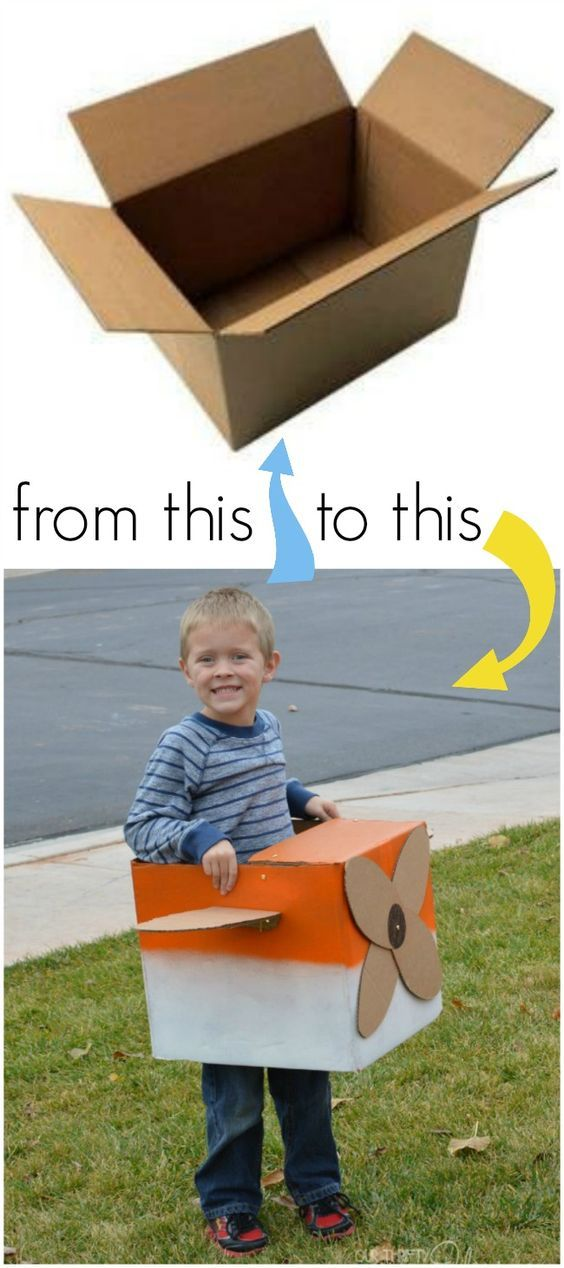 use your holiday ship boxes to create a Dusty Crophopper DIY costume for your kids!! #PlanesToTheRescue:
