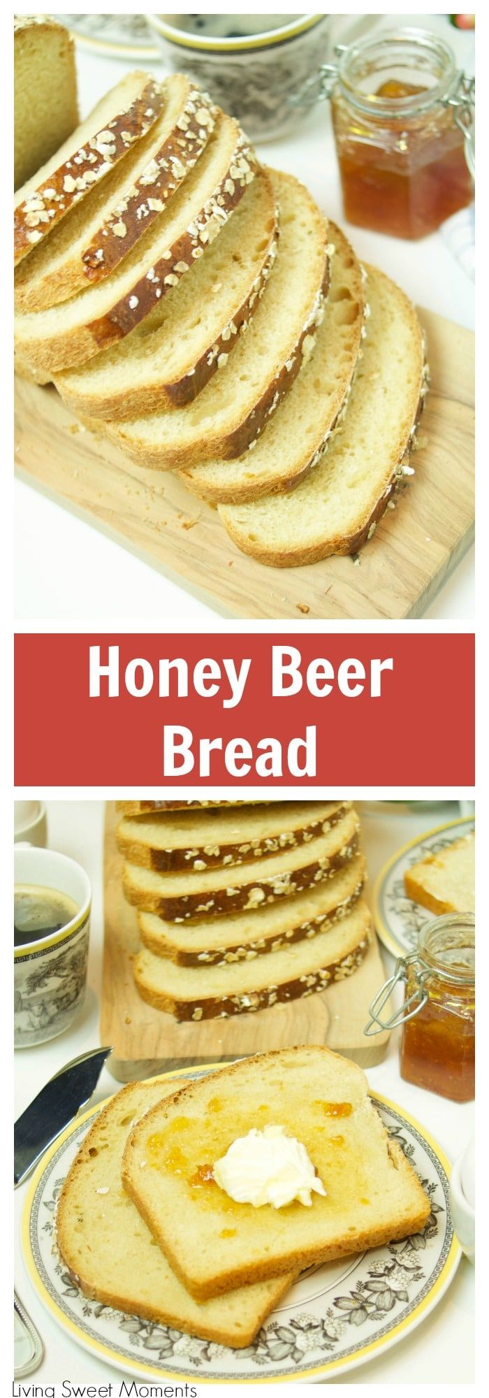 This soft and delicate Honey Beer Bread recipe has a wonderful taste and aroma. Perfect when served warmed with butter or as toast in the morning. More homemade bread recipes at livingsweetmoments.com via @Livingsmoments