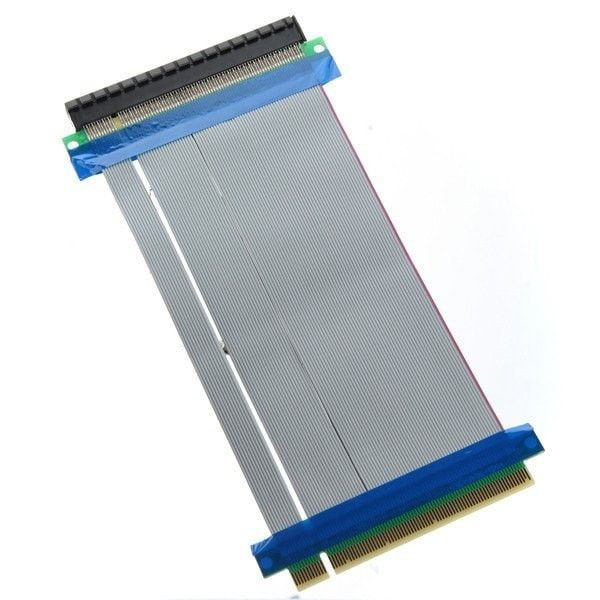 Ribbon Extender Cable Pci-express Pci-e 16x Riser Card Flexible. Description: Durable to use. Install PCI-E device freely according to dimension and position of computer case. Ideal for small computer & server case, like 1U & 2U. One end is PCI-E 16X male and another end is PCI-E 16X female. Gold plated contacts for best connectivity and long life. Expansion for 1 slot with cable. No Driver necessary and jump-less. The Flexible Single Slot PCI-Express 16x Riser Card makes the…