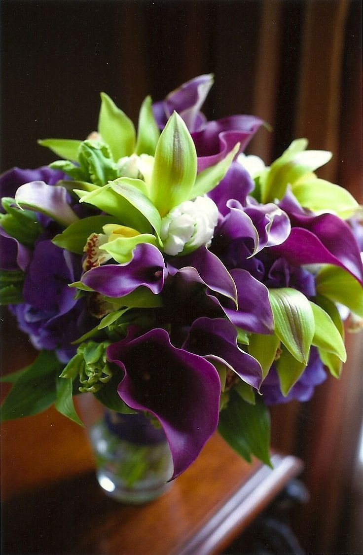 green and purple wedding flower bouquet, bridal bouquet, wedding flowers, add pic source on comment and we will update it. www.myfloweraffair.com can create this beautiful wedding flower look. #purplewedding #weddingflowers