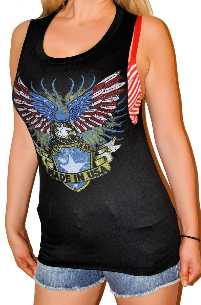 Rock & Roll Made In The USA Eagle Biker Slashed Back w Stones Loose Tank Top s-m #shopjaded #80sstyle #Casual