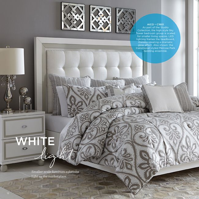 """White Light"" from #LVMkt #FirstLook. Featuring the Sky Tower Collection from AICO. Design Events, Design Furniture, Las Vegas Market, Furniture. For More News: http://www.bocadolobo.com/en/news-and-events"