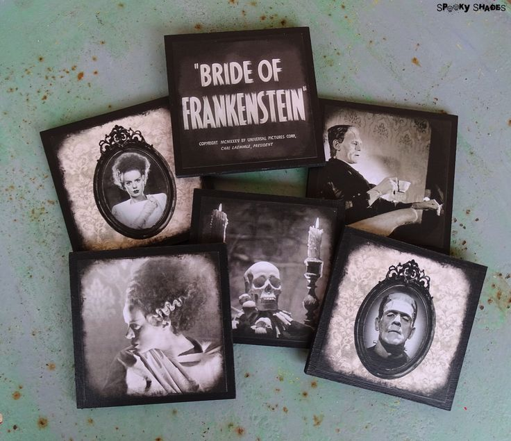Frankenstein's Bride coasters - set of 6 wooden coasters - Bride Of Frankenstein,classic horror movies,monster,Halloween decor,gothic,spooky by SpookyShades on Etsy https://www.etsy.com/listing/233410919/frankensteins-bride-coasters-set-of-6