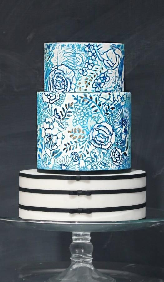 Cake painting, blue porcelain cake with black tuxedo stripes by Jackie Florendo Workshops in cake decorating Manila