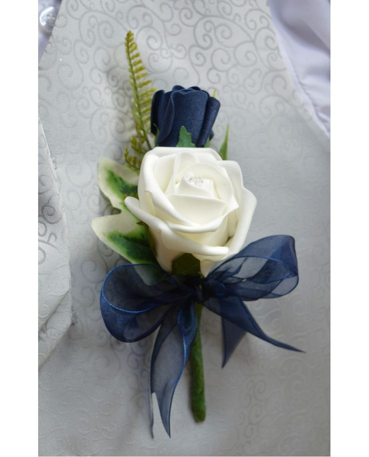 GROOMS Double Rose Buttonhole -Navy Blue & Ivory or White Rose Corsage