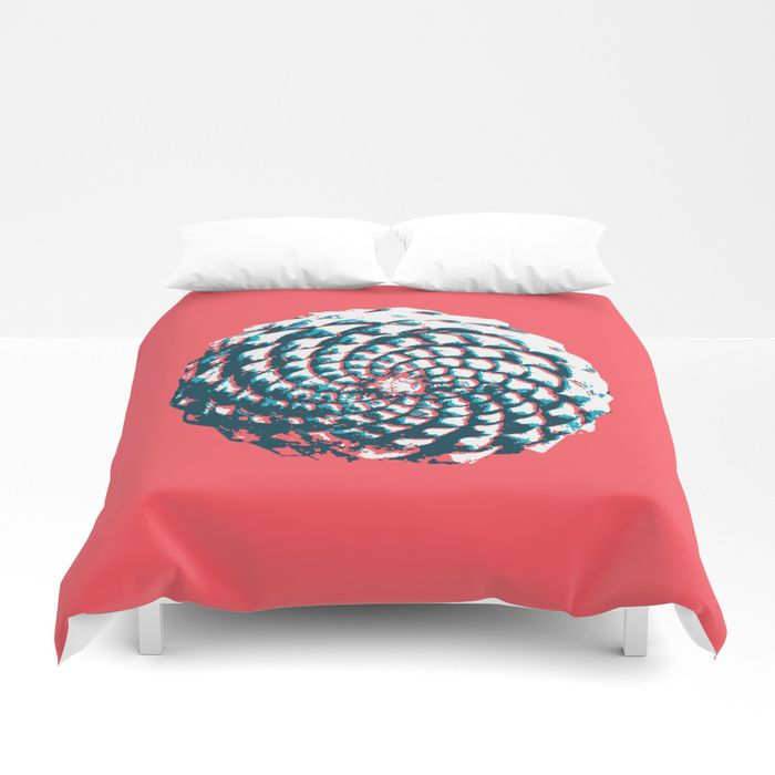 pine cone pattern in coral, aqua and indigo Duvet Cover  by VrijFormaat. Available at Society6.com. #duvetcover #pinecone #bedroomdesign