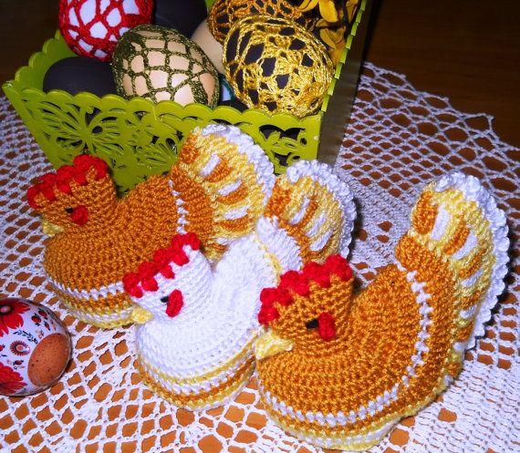 Egg Warmers Crochet Handmade Set of 2 Cute Chickens by MartaCarlin, $9.00--Etsy